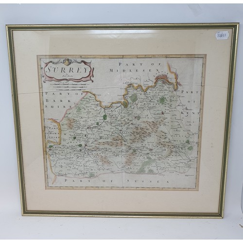 195 - A Robert Morden, coloured map of Surrey, 36 x 42 cm, Cruchley's Road and Railway Map of Hampshire, 5...