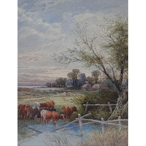 197 - Thomas Rowden (British 1842-1926), cattle by a stream, watercolour, signed and dated 90, inscribed v...