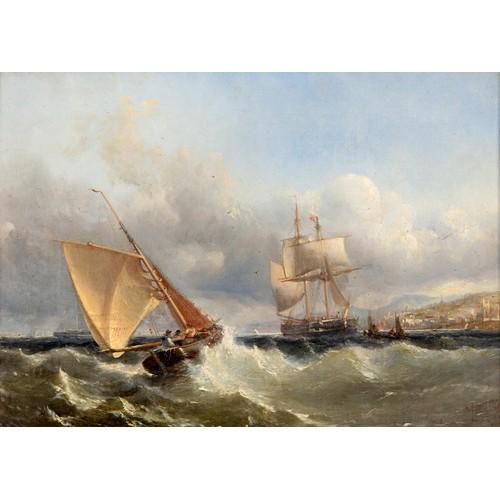 198 - Edwin Hayes (British 1819-1904), Fresh Breeze off Kingston Dublin Bay, oil on canvas, indistinctly s...
