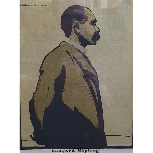 213 - William Nicholson, James McNeil Whistler, lithograph, 27 x 23 cm, Rudyard Kipling, Sir Henry Irving,...