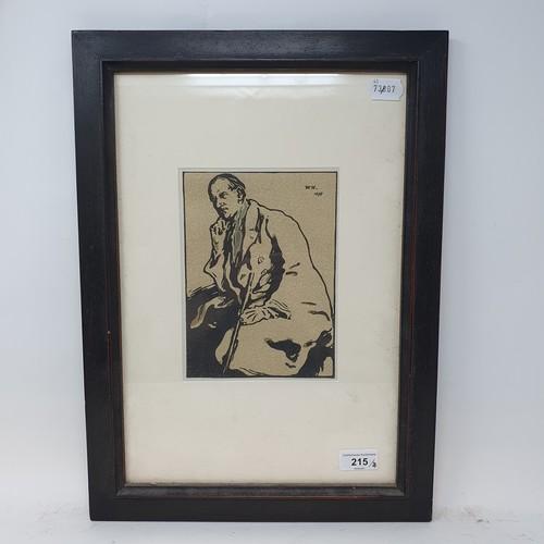 215 - William Nicholson, portrait of a man, lithograph, initialed W. N., dated 1899, 20 x 15 cm
