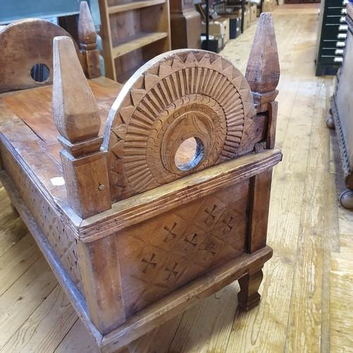 244 - Eastern hardwood stool, lacking cushion, 84 cm wide