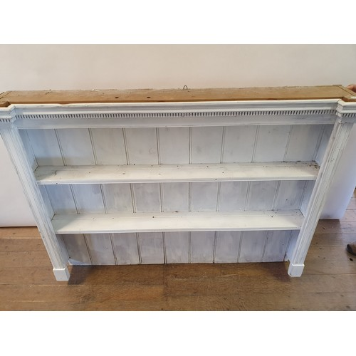 246 - A painted pine kitchen table, 92 x 137, and a painted pine dresser top, 157 cm wide (2)