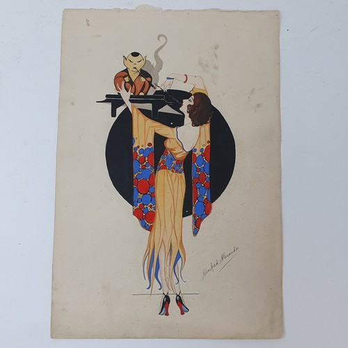 85A - Winiferd Alexander, Art Deco portrait of lady and a pink dress, pen, ink watercolour, signed, dated ...
