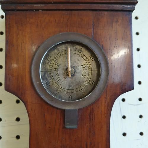 96a - A 19th century mahogany banjo form barometer, 94 cm high