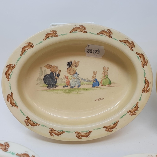503 - Two Royal Doulton Bunnykins baby's plates by Barbara Vernon, and other Bunnykins china (8)