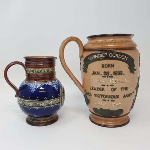 506 - A Doulton Lambeth commemorative jug, General Gordon 20 cm high, and a Doulton commemorative jug, Que...