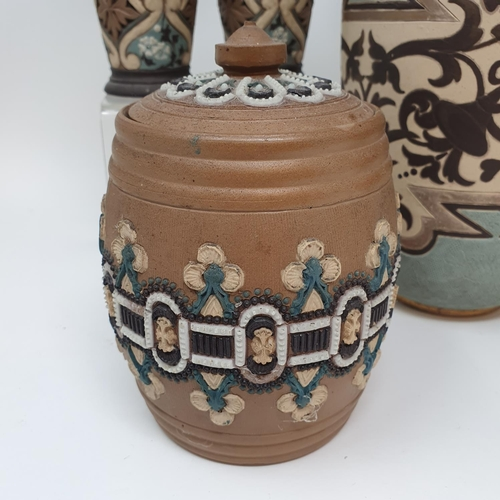 507 - A Doulton Lambeth vase, 27 cm high, a tobacco jar, 15 cm high and three other item (5)