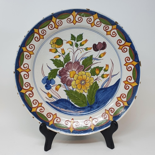 511 - A Delft polychrome plate, and four others (5)