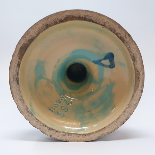 515 - A Wilhelm Schiller & Son, Austria, pottery vase, decorated masks, impressed mark to base, W S & S 58...