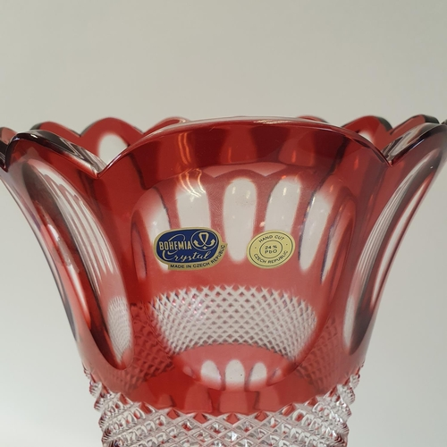 523 - A large Bohemia Crystal of the Czech Republic, red and clear cased glass vase, 50 cm high
