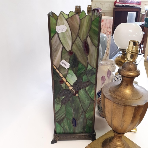 551 - A Tiffany style glass lamp base, 46 cm high, a pair of lamp bases and various other items (qty)