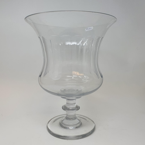 529 - A large glass goblet vase, on a round foot, 34 cm high x 27 cm diameter