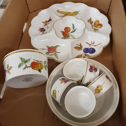 531 - A group of Royal Worcester Evesham tablewares, and a brass lantern clock (box)
