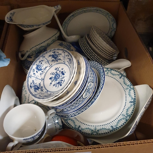536 - A blue and white part dinner service, a copper measure, and various other items (4 boxes)