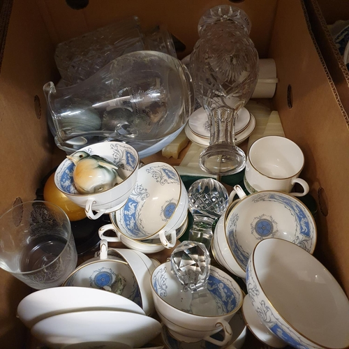 537 - A cut glass decanter, a Royal Doulton Rondelay pattern part tea service, other ceramics and glass (2...