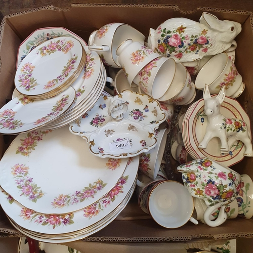 540 - A Colclough part dinner service, other ceramics, glass and various children's pop up books (4 boxes)