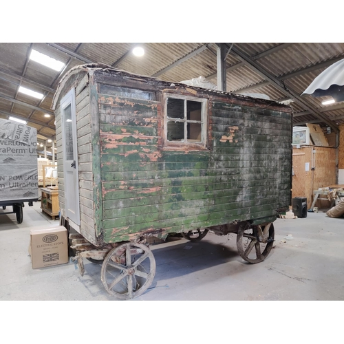 500 - A late 19th/early 20th century roadman's living van, possibly by Eddison, of traditional plank const...