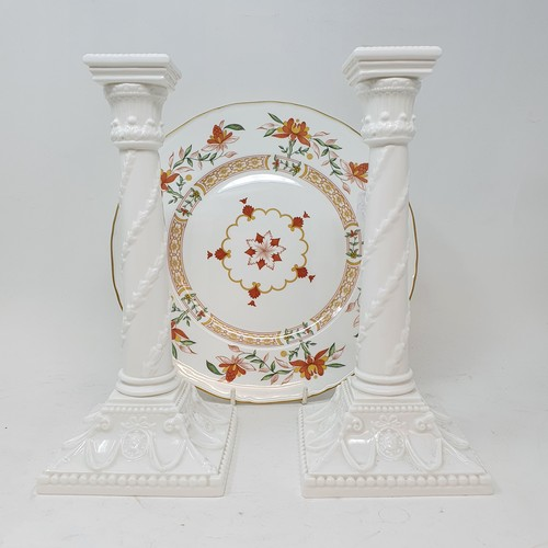 541 - A pair of Royal Worcester candlesticks in the form of Corinthian columns, various other Royal Worces...