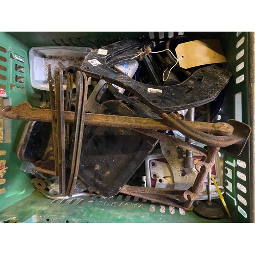 21 - Assorted Velocette spares: Engine plates ,rear stand etc