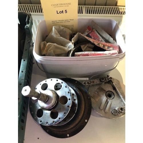 5 - Assorted Velocette spares: Wheel hubs, brake plates and shoes