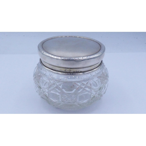 11 - Hallmarked Birmingham Silver/Glass Powder Pot Dating From 1939 Weighing 19.8 grams (Silver Lid ONLY)...