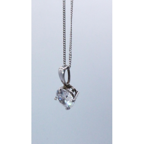 28 - White Gold 375 Solitaire Necklace with Presentation Box...