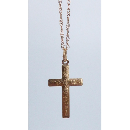 32 - Rose Gold 375 Necklace with Pendant Cross with Presentation Box...