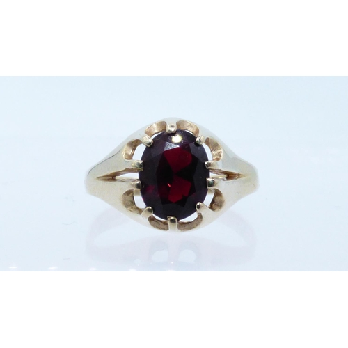 38 - Gold 375 Ring with Deep Red Coloured Stone Size S with presentation box...