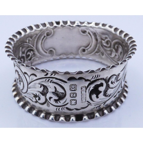 4 - Hallmarked Birmingham Silver Napkin Ring Dating from 1899 Weighing 8.7 grams...