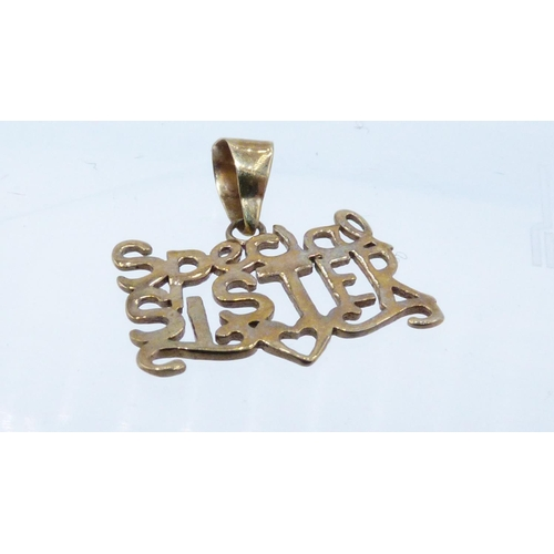 43 - Gold 375 Special Sister Pendant with Presentation Box...