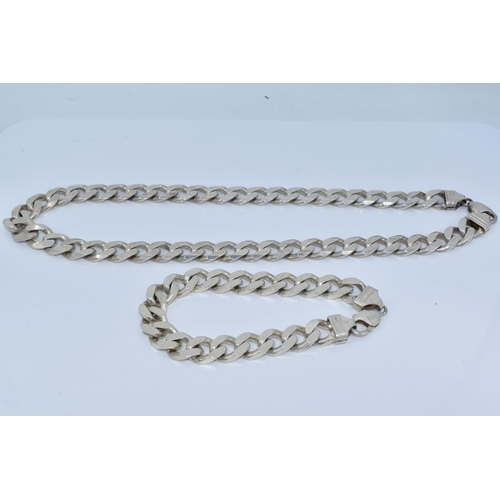 44 - Matching Silver 925 Curb Link Necklace and Bracelet Set (Necklace Length 20