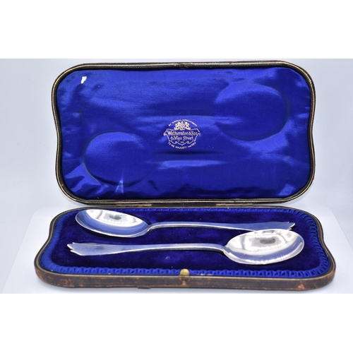 45 - Hallmarked London Silver Serving Spoon Set with Rats Tail Design and Presentation Box...