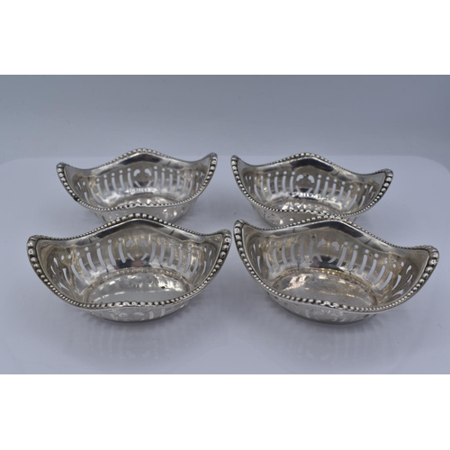 46 - Set of Four Sterling Silver Oval Beautifully Pierced with Graduated Beading on the top edge Dishes 8...