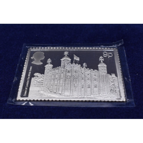 48 - Danbury Mint Enlarged Proof Quality Solid Sterling Silver Tower of London Stamp with Set of Day Cove...