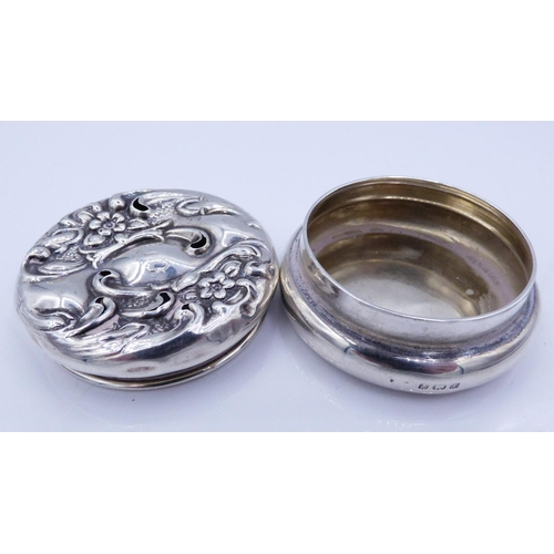 5 - Hallmarked Silver Pill Box Dating From 1905 Weighing 20 grams...