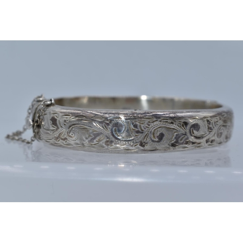 53 - Hallmarked Birmingham 925 S.P.S & CO Decorative Silver Bangle Dating From 1962 with Presentation Box...