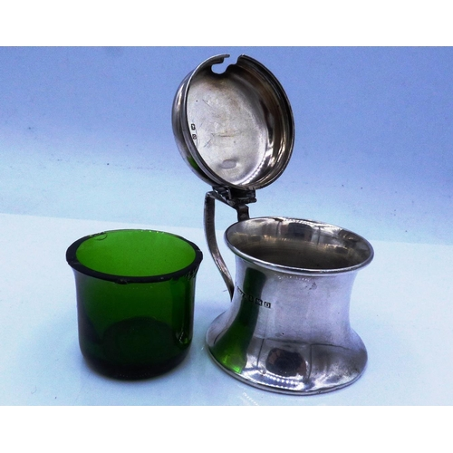 8 - Hallmarked Birmingham Silver Mustard Pot With Green Glass Liner Dating From 1913 Weighing 30.7 grams...