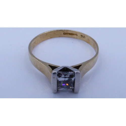 20 - Hallmarked Gold 375 Solitaire Ring Size O with Presentation Box...