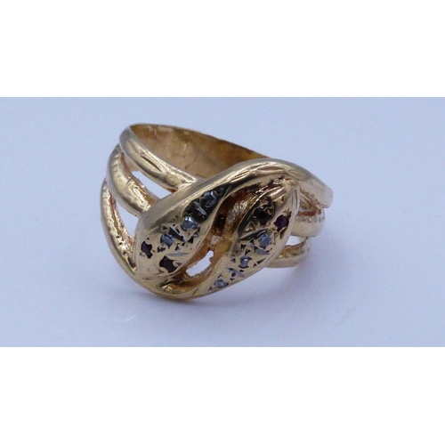 21 - Gold 375 Snake Design Ring Size O with Presentation Box...