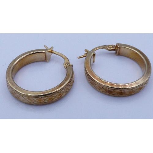 24 - Gold 375 Detailed Hoop Earrings...
