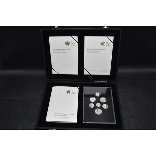 19 - Royal Mint 2008 Royal Shield of Arms Silver proof coin set, cased...