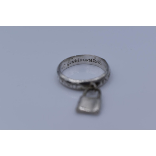 22 - Tiffany & Co 925 Silver 1837 Padlock Ring Size S with Presentation Box...