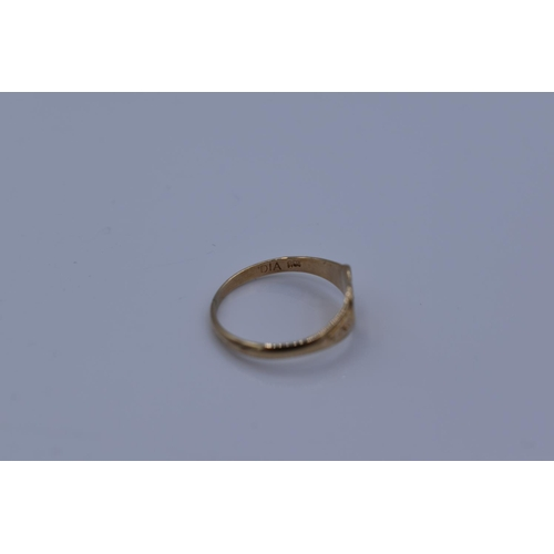 23 - Hallmarked 9CT Gold Childs Ring with Small Diamond Size H Weighing 0.9 grams...
