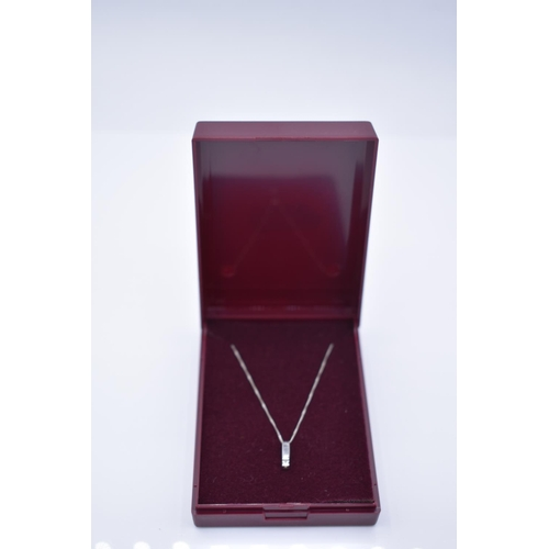 40 - White Gold 375 Clear Stoned Pendant Necklace with Presentation Box...