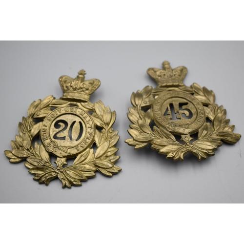 Two Large British army helmet badges