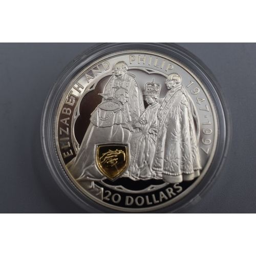 New Zealand Silver 925 (22ct Gold Cameo) 50th wedding anniversary of Queen Elizabeth II and Prince Philip Proof Coin