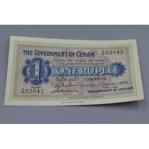 The Government of Ceylon 2nd October 1939 One Rupee Note