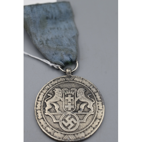 10 - Third Reich Danzig Police Medal for 8 Years Service with Faded Ribbon...