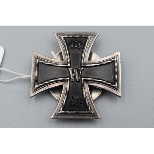 16 - Imperial German Iron Cross 1st Class with Rear Oyster Shell Spinner...
